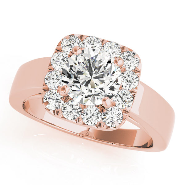 Rose gold plain metal band engagement ring with a halo diamond setting design