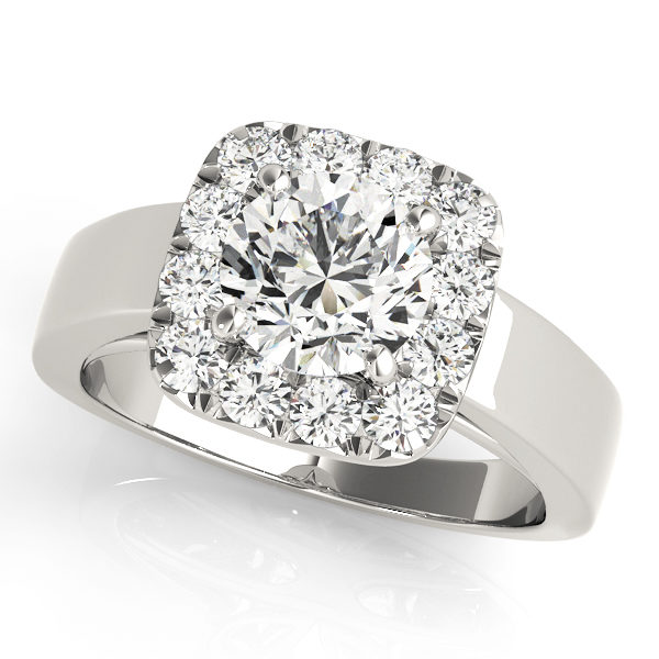 White gold plain metal band engagement ring with a halo diamond setting design
