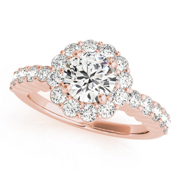 Rose gold flower halo engagement ring with shared prong side accents