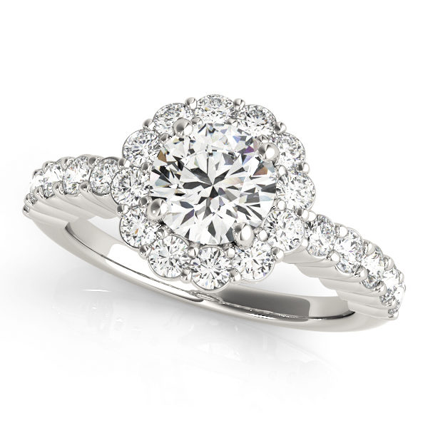 White gold flower halo engagement ring with shared prong side accents