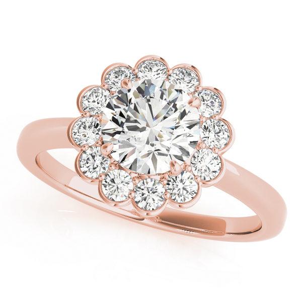 Rose gold engagement ring with a simple metal non embellished band and a large flower halo centre stone
