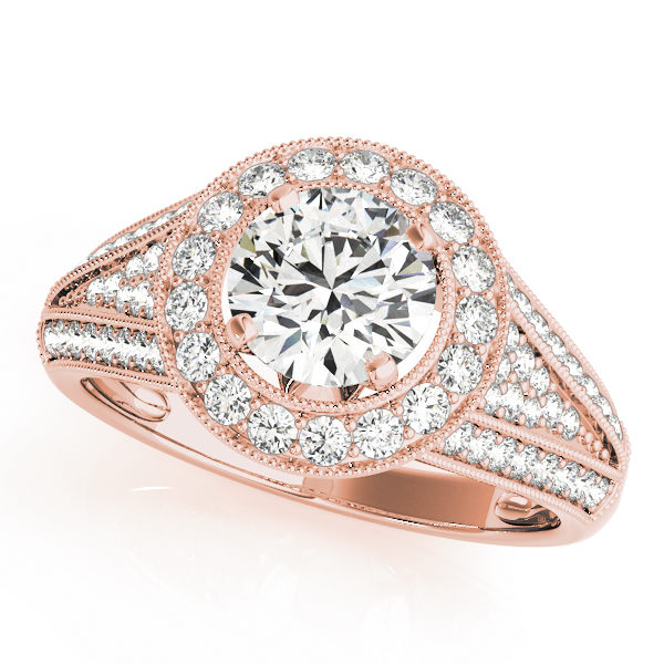 Split v band engagement ring set in pave style and a halo style centerpiece in rose gold
