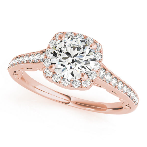 Diamond halo style engagement ring with pave and bead band made of rose gold