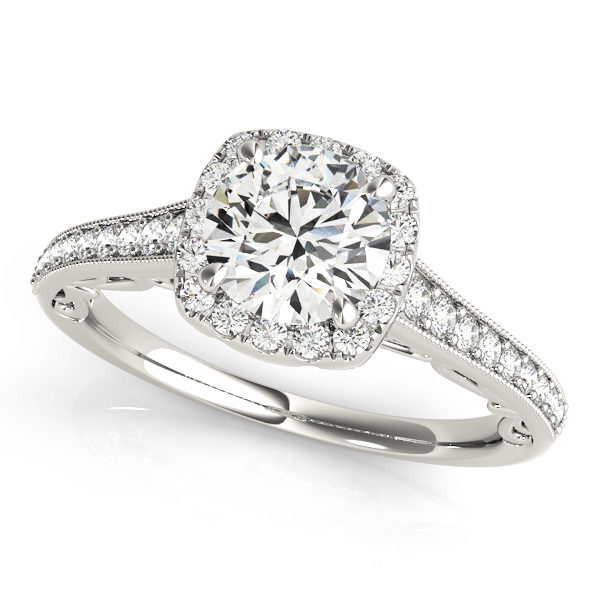 Diamond halo style engagement ring with pave and bead band made of white gold