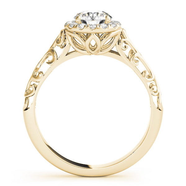 Yellow gold engagement ring with a filigree design band, pave halo style centre piece and a petal under gallery standing upright
