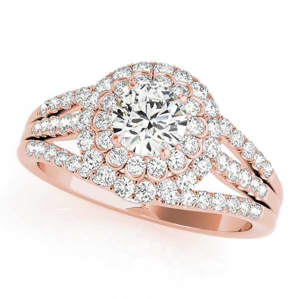 Rose gold double halo flower style diamond engagement ring with triple pave diamond accented band