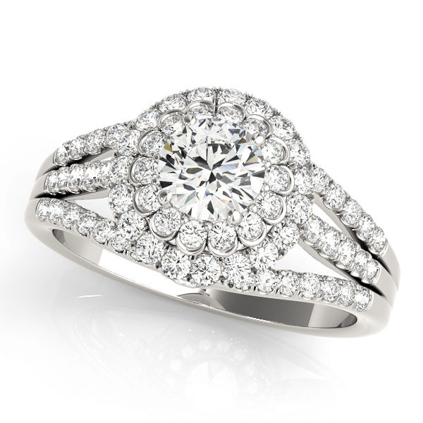 White gold double halo flower style diamond engagement ring with triple pave diamond accented band