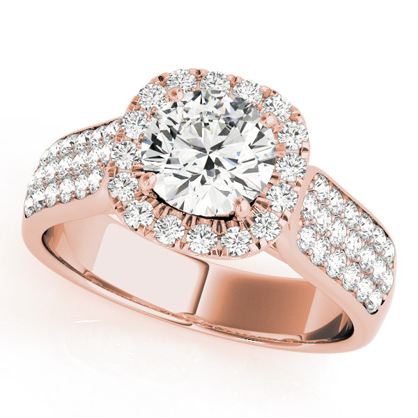 Rose gold thick band engagement ring with three rows of smaller diamonds on each side of the band