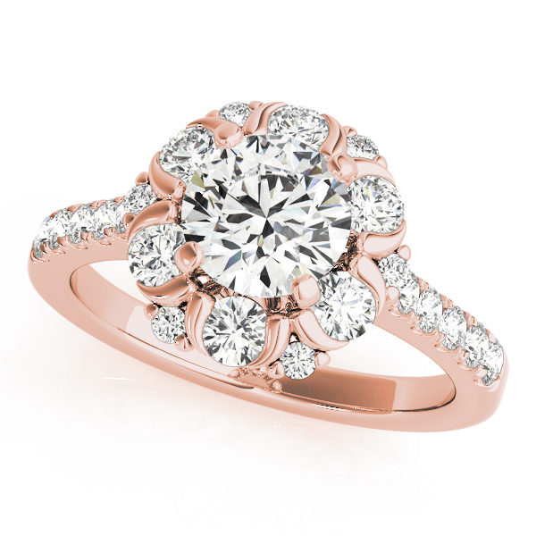 Rose gold flower halo engagement ring with round cut diamond as center stone