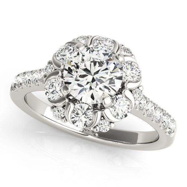White gold flower halo engagement ring with round cut diamond as center stone