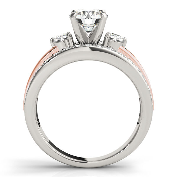 Front view of two tone engagement ring consist of white gold and rose gold in the middle of split shank