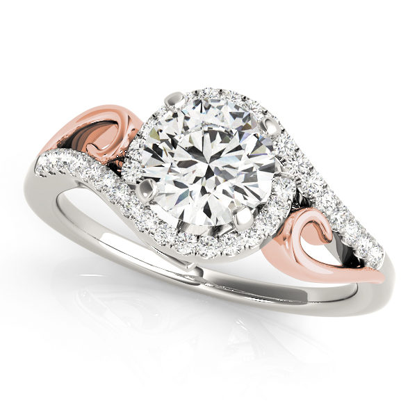 A front view of a white and rose gold engagement ring with round centre cut jewel and diamonds engraved in the band.