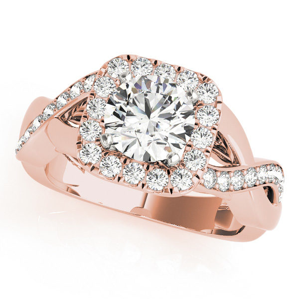 Rose gold square halo engagement ring with round cut diamond as center stone in a twisted ring band