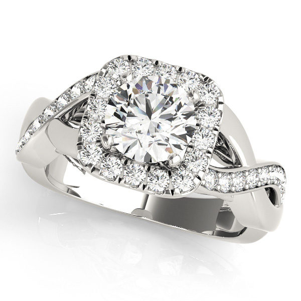 White gold square halo engagement ring with round cut diamond as center stone in a twisted ring band
