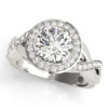 Channel set twist engagement ring in white gold