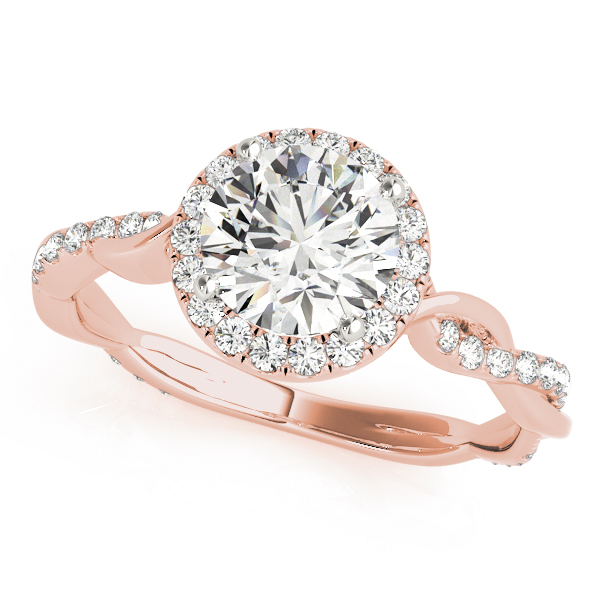 A diamond four prong halo engagement ring with a twisted style rose gold band, one of the twists embellished with surface prong set diamonds.