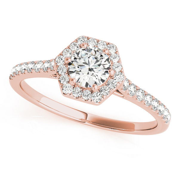 A rose gold diamond engagement ring, with a halo 6 prong diamond set head, and a scallop style band.