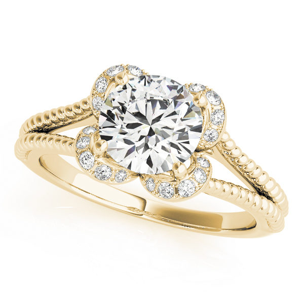 Top view of a yellow gold split shank halo engagement ring in a rope design band