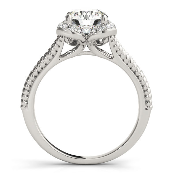 Front view of white gold split shank halo engagement ring in a rope design band