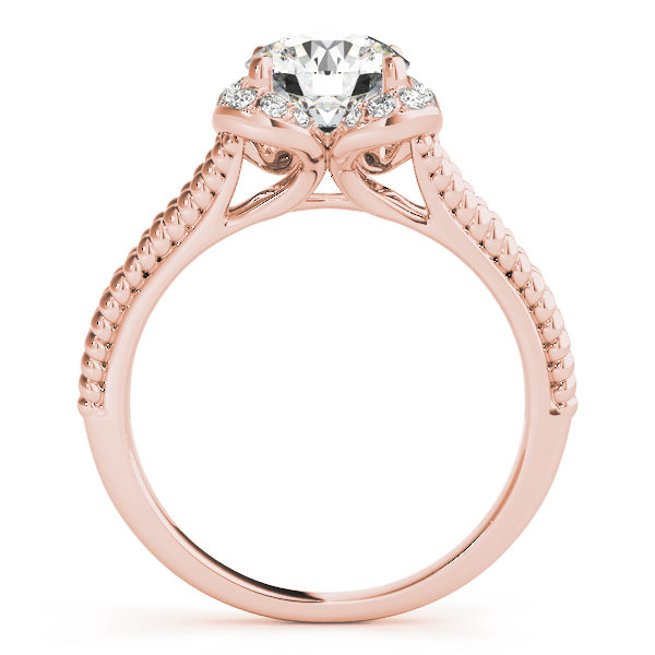 Front view of rose gold split shank halo engagement ring in a rope design band