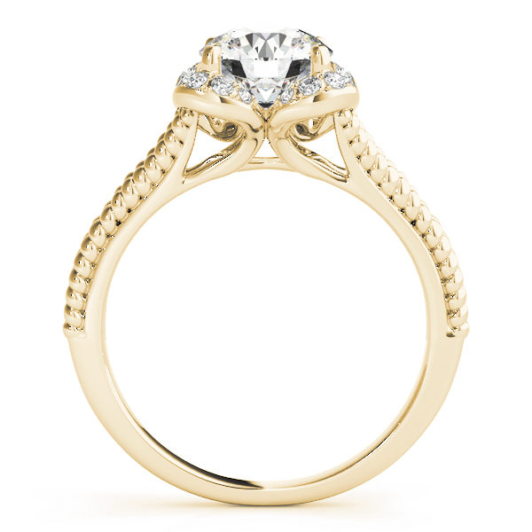 Front view of yellow gold split shank halo engagement ring in a rope design band
