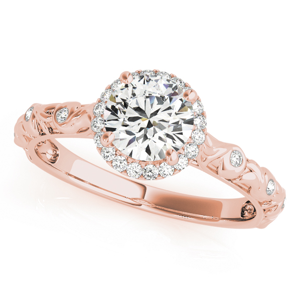 top view of a single center stone halo engagement ring with swirl design shank in rose gold