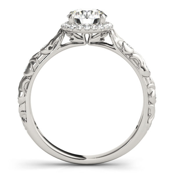 front view of a single center stone halo engagement ring with swirl design shank in white gold