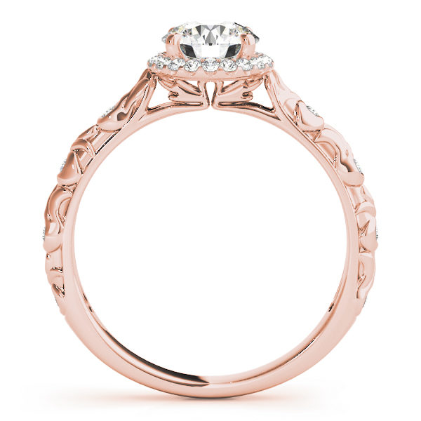 front view of a single center stone halo engagement ring with swirl design shank in rose gold