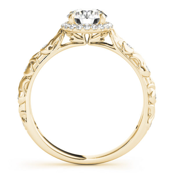 front view of a single center stone halo engagement ring with swirl design shank in yellow gold
