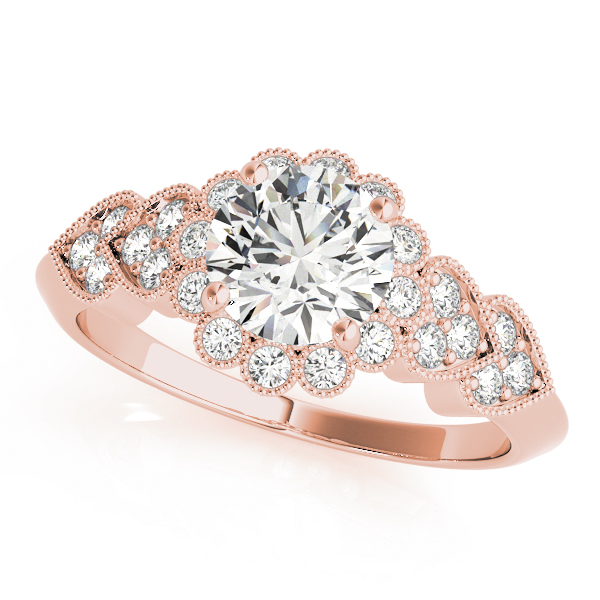 top view of a hearts round halo engagament ring in rose gold