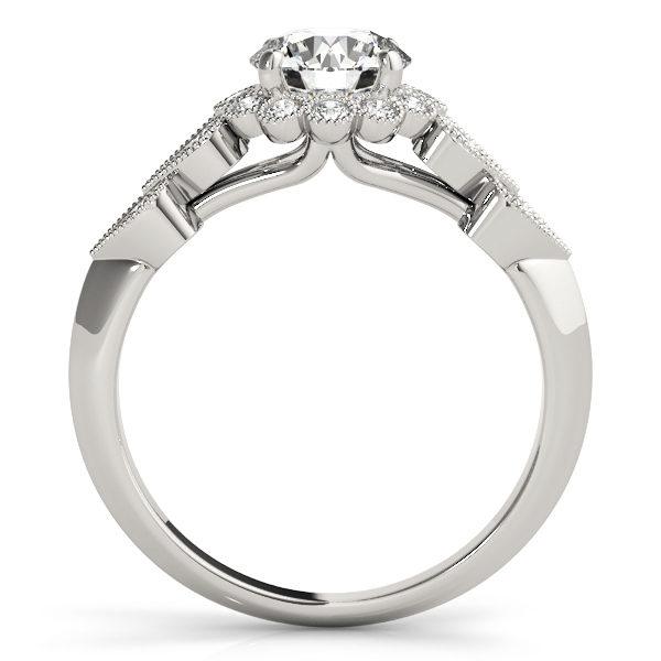 front view of a hearts round halo engagament ring in white gold