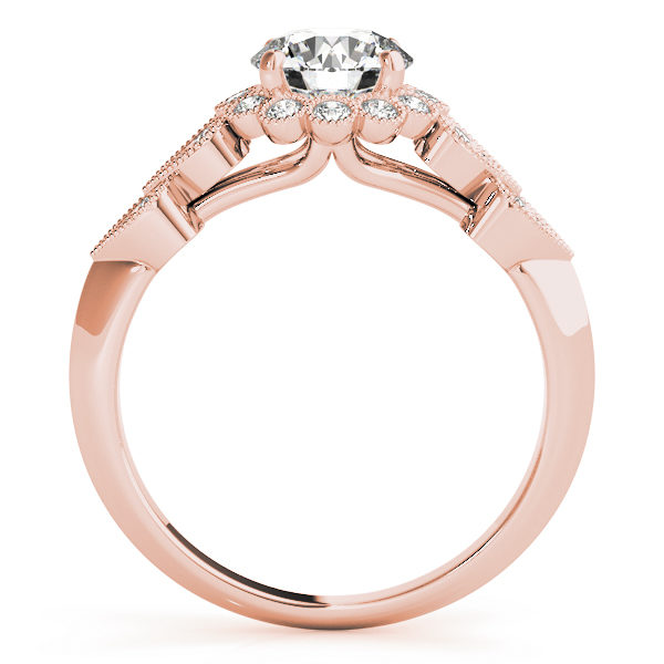 front view of a hearts round halo engagament ring in rose gold