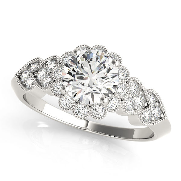 top view of a hearts round halo engagament ring in white gold