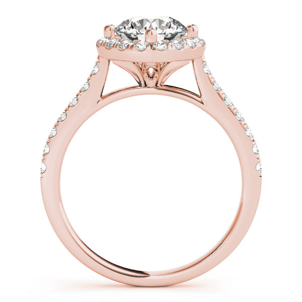 The side view of a rose gold engagement ring, with a diamond halo centre piece, a flower shaped under gallery, and a diamond embellished band.