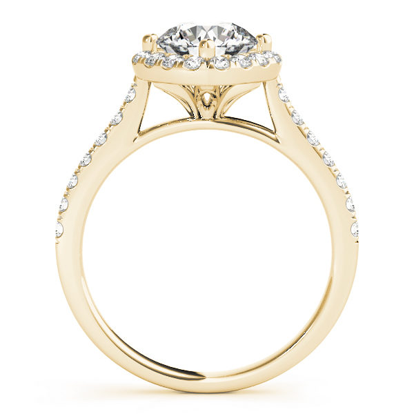 The side view of a yellow gold engagement ring, with a diamond halo centre piece, a flower shaped under gallery, and a diamond embellished band.