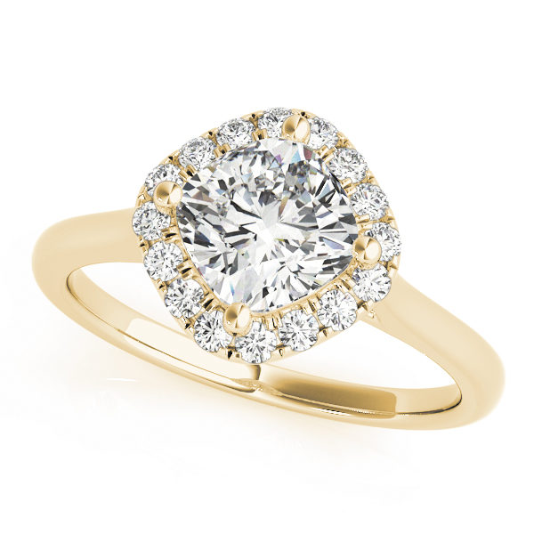 An engagement ring with a diamond shaped centre piece, surrounded by a halo of smaller round shaped diamonds, all set in yellow gold.
