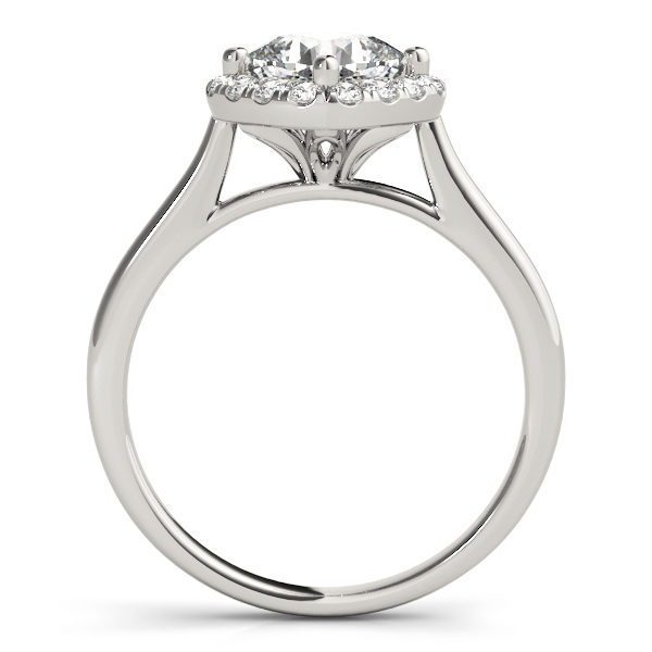 The side view of a halo style white gold engagement ring with a flower style under gallery, and a plain band.