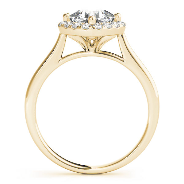 The side view of a halo style yellow gold engagement ring with a flower style under gallery, and a plain band.