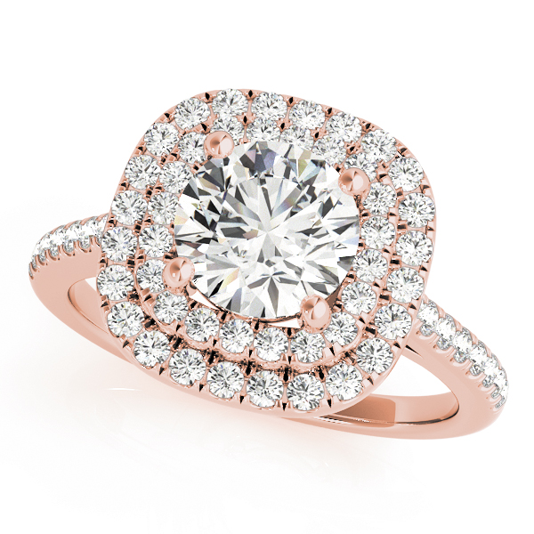 A double halo rose gold engagement ring with a diamond embellished band, set against a white background.