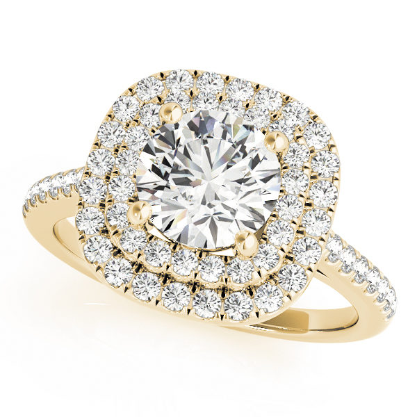 A double halo yellow gold engagement ring with a diamond embellished band, set against a white background.