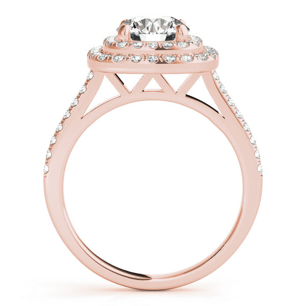 The side view of a rose gold double halo engagement ring with a double V-shaped under gallery, seta against a white backdrop.