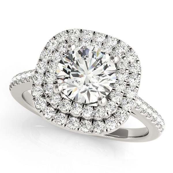 A double halo white gold engagement ring with a diamond embellished band, set against a white background.