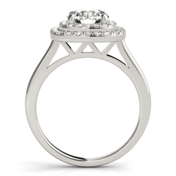 Sideview of a white gold cathedral ring with double halo and a diamond at the center of a 4-pronged ring setting