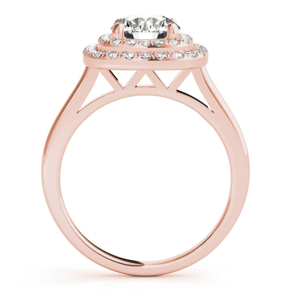Sideview of a rose gold cathedral ring with double halo and a diamond at the center of a 4-pronged ring setting