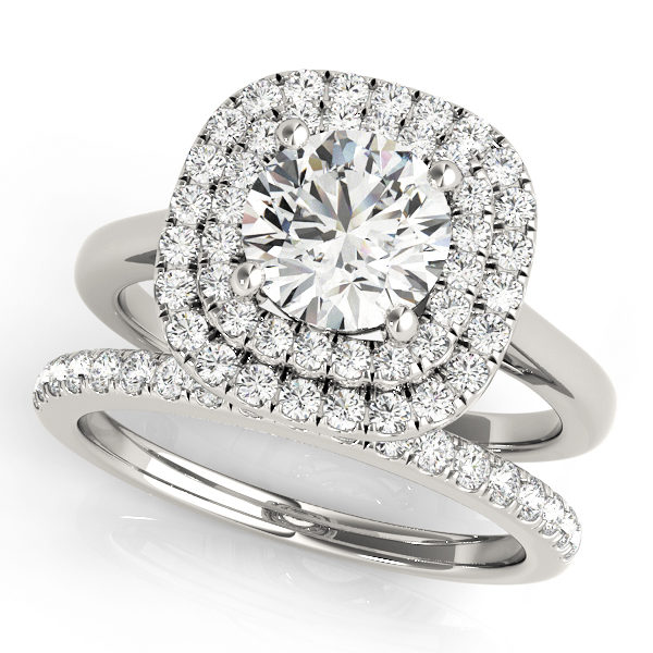 Double band white gold ring with pave diamonds on one band and plain design on the other with double halo round cut diamond at the center