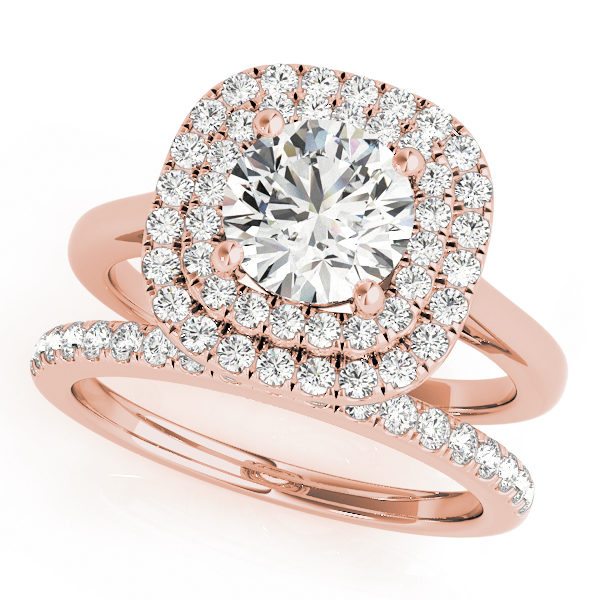 Double band rose gold ring with pave diamonds on one band and plain design on the other with double halo round cut diamond at the center