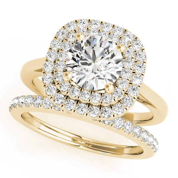 Double band yellow gold ring with pave diamonds on one band and plain design on the other with double halo round cut diamond at the center