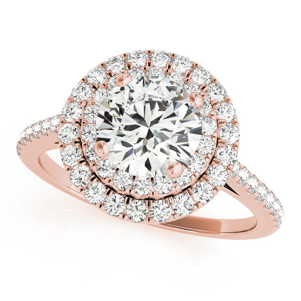 Top view of a rose gold double halo engagement ring