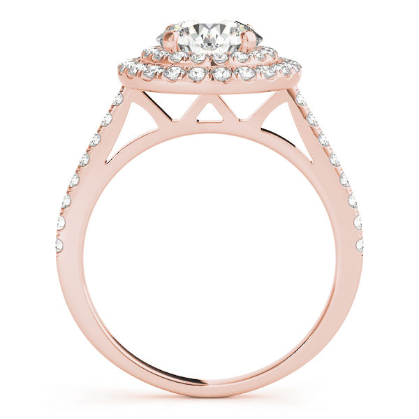 Front view of a rose gold double halo engagement ring