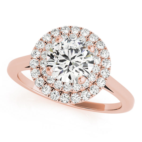Rose gold double halo round engagement ring in a solitaire setting